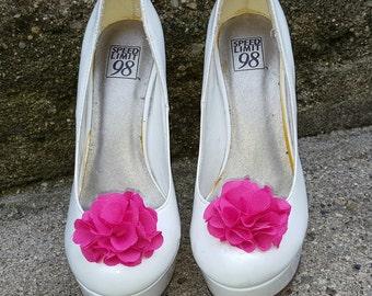 Hot Pink   Shoe Clips,  Wedding Shoe Clips, Rose Shoe Clips,  Roses, Bridal Shoe Clips, Shoe Clips, Clips for Wedding Shoes, Bridal SHoes