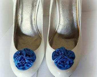 Royal Blue,  Wedding Shoe Clips, Rose Shoe Clips,  Roses, Bridal Shoe Clips, Shoe Clips, Clips for Wedding Shoes, Bridal SHoes