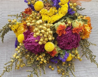 Dried Flower Bouquet Colorful Orange Yellow Purple Wedding Flowers Made to Order