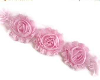 ON SALE PINK Shabby Flower Trim. 1 Yard.