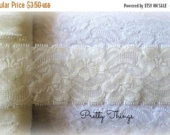 "ON SALE Off White Stretch Lace-- 2"" wide - 2 Yards"