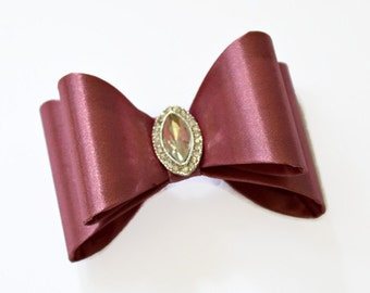 "Rose Pink Satin Bow. 3"" Pink Satin Bow. Double Layer Bow. Rhinestone Center. ~Tamar Collection"