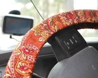 Steering Wheel Cover Red brown paisley patterned