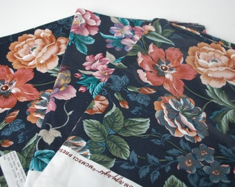 3 pieces Vintage Fabric KENMILL  Floral on black background patterned
