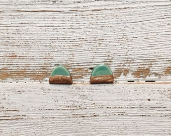 Ceramic Earrings, Jade, Rose Gold, Modern, Dome Earrings, Minimal, Unique Gift, Ceramics, Gift for Her, Ceramic Jewelry