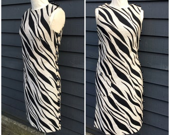 60s dress designer linen sheath . Wild tiger striped . Leo Narducci
