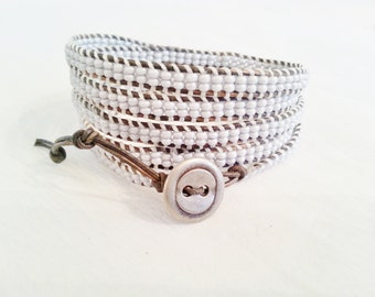 5x wrap beaded leather bracelet, seed beads, grayish blue