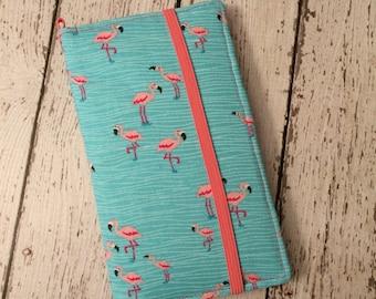 Samsung Galaxy wallet, Galaxy case - Flamingo print with removable gel case
