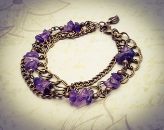 Amethyst Gemstone and Bronze Layered Boho Chain Bracelet - [B22]