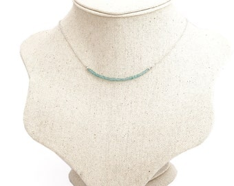 Natural Apatite Necklace, Light Blue, Layered Jewelry - Sterling Silver (925)