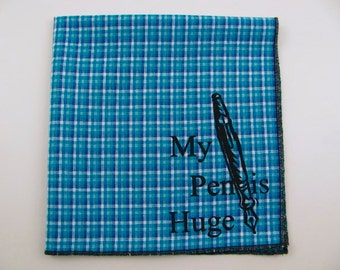 Hankie- Funny PEN IS huge shown on super soft blue/aqua Plaid Hanky-or choose from white or any solid colors or plaids shown in pics