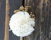 Ready To Ship Ivory Gardenia Twine Boutonniere- Groomsmen, Sola Flower, Wedding, Wedding Flowers, Shabby Chic Wedding, Rustic Wedding