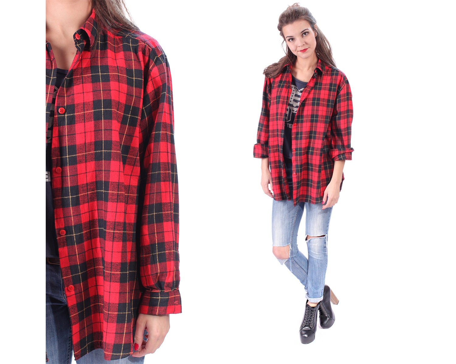 Tartan Plaid Lumberjack Red Shirt 70s Flannel Jacket Scottish