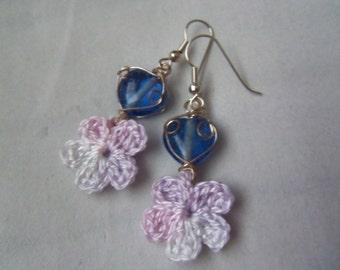Crochet Flower Earrings. Handmade Earrings.