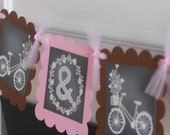 Rustic Wedding Shower Bicycle Flowers Arrow Chalkboard Bridal Shower Pink and Brown Mr. & Mrs. or Bride to Be Banner - Party Pack Specials