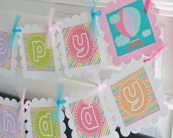 Happy Birthday Rainbow Stripe Chevron Hot Air Balloon Colorful Theme Banner - Party Pack Specials - Free Ship Over 65.00