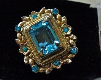 Vintage Signed CORO Aquamarine Art Nouveau Brooch Estate Jewelry Rhinestones
