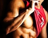 Red Shirt Gay Art Male Art Print by Michael Taggart Photography strong muscular muscle muscles abs cute handsome
