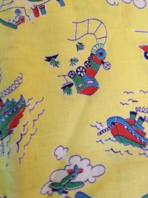 Vintage Novelty Fabric Child Yellow Print Cars Train