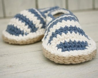 Striped Beach Shoes, Crochet loafers, Newborn to 6-12 months - MADE To ORDER
