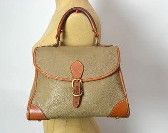 Vintage Early 80s Rare Dooney Taupe AWL Belted Satchel Bag (All Weather Leather)