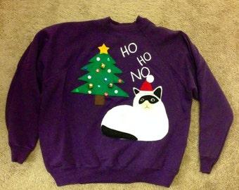Last Minute SALE Handmade GRUMPY CAT Ugly Christmas Sweatshirt