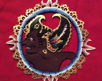 Prince Bima - Gorgeous Authentic Shadow Ornament - Wayang Kulit Gantungan