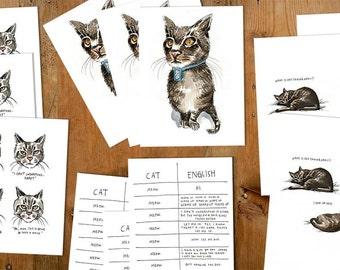 Lost Cat Postcard Set - 12 cards