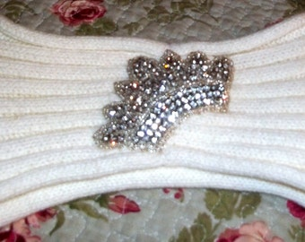 Embellished Headband, Crown, Knitted headband, Ivory headband, Head accessories,  Shabby Chic, Crown