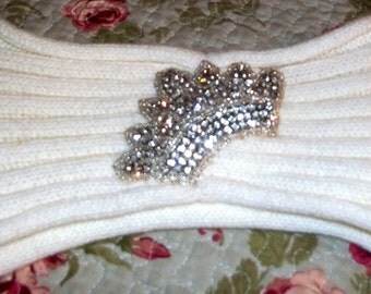 Embellished, Headband, Crown, Knitted headband, Ivory headband, Head accessories,  Shabby Chic, Crown
