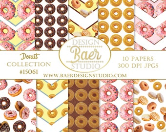 Digital Paper Commercial Use:Donut Digital Paper, Chocolate Donut Digital Paper, Donut Scrapbook Paper, Pink Donut Digital Paper