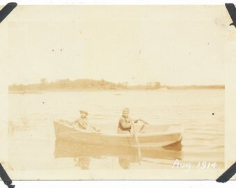 Love in a Rowboat children snapshot old photo found photograph
