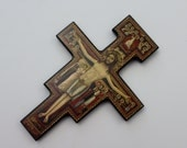 Vintage San Damiano Crucifix Cross Wall Hanging - Cross of St. Francis of Assisi - Icon Cross Devotional Wall Hanging