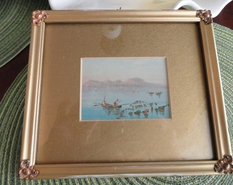 B098)  Vintage Watercolor Boat with gold frame