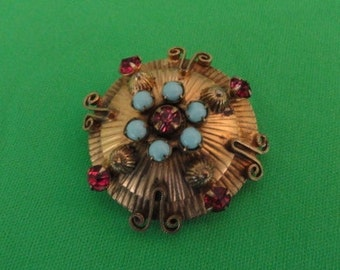 B381)  Vintage gold tone Brooch and pendant with pink rhinestones and turqouise glass beads