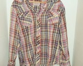 Vintage Plaid Button Snap Collared Shirt