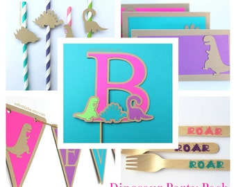 Dinosaur Party Pack- dinosaur--Dinosaur birthday-dinosaur party-dinosaur birthday decor-girl dinosaur birthday-girl dinosaur party