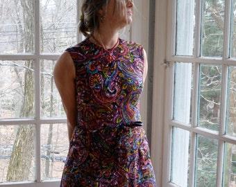 Rainbow Colors Scribble Print Dress/Vintage 1960s/Liberty Circle Cotton Sheath Dress/Size Medium