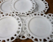 white milk glass anchor hocking lace scallop edge vintage plate set of 8 party wedding dinner setting collection