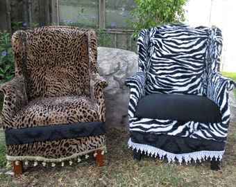 Wingback Chairs pair of animal print custom designed zebra leopard cheetah one of a kind soft material waiting room seats