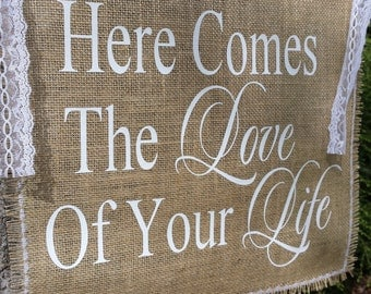Burlap Wedding Banner, Here Comes The Bride, Love Of Your Life, Burlap Wedding, Rustic Wedding Banner, Rustic Wedding
