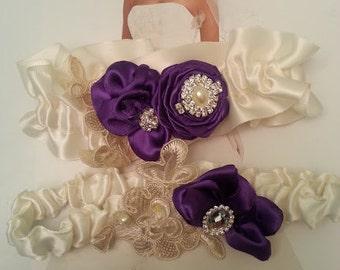 Ivory and purple Garter Set, Bridal garter, Wedding Garters,