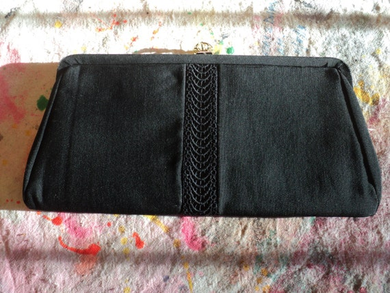 Vintage Black Silk Evening Clutch Purse with Solid Brass Clasp, Stylish Evening Clutch Bag in Vintage Condition with great patina