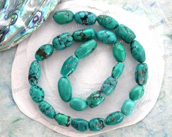 Turquoise Beads, 1 Strand 11 to 17mm Genuine Chinese Turquoise Beads, Semi Precious Stone Beads, Real Turquoise Beads SP-365-3