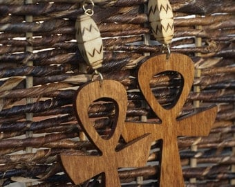 Wood Dangle Ankh Earrings - Brown Stain Afrocentric Jewelry