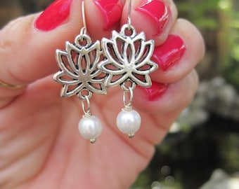Boho Silver Lotus Flower Earrings with White Pearl Dangle