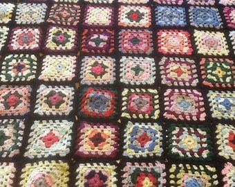 Vintage Granny Square Crocheted Baby Blanket
