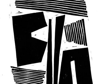 Modern Art Print - Geometric Shapes and Lines - Home Decor - Linocut Block Print - Original or Digital Print