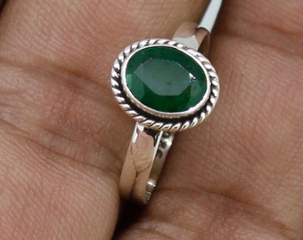 925 Solid Sterling Silver Faceted Emerald Gemstone Women Ring SJXR_0129