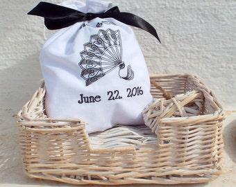 4 Victorian Fan Bridesmaids Favor Bag,  Bridesmaid Bags,Bridesmaids' Gifts,Bridesmaid bag,Monogram Bag,Wedding Bag,Maid of Hono